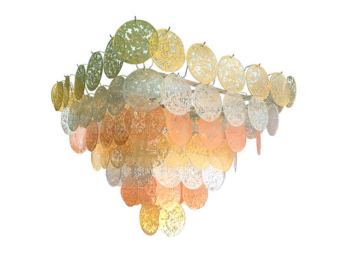 Pyramidal Vistosi gold/silver/copper fused disc mid century modern Chandelier