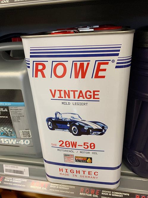 5 Liter ROWE VINTAGE MILD LEGIERT SAE 20W-50 Oldtimer Motoröl Made in Germany