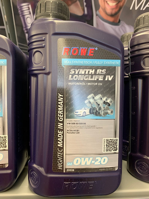 1 L LITER ROWE SAE 0W-20 MOTORÖL HIGHTEC SYNTH RS LONGLIFE IV VW 508 00/509 00