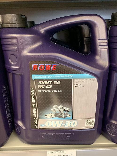 5 LITER ROWE SAE 0W-30 MOTORÖL HIGHTEC SYNT RS HC-C2 TURBO-MOTOR ACEA C2 PSA B71