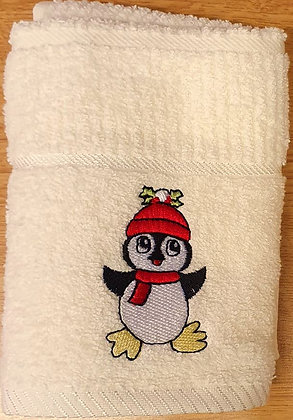 Tea Towel - Cream with Penguin