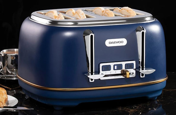 Daewoo 4 Slice Toaster - Blue - Astoria Collection