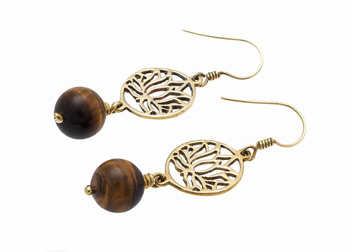 Lotus Earrings with Natural Stone - Cambodia
