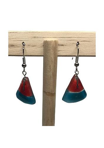 Fused Glass Earrings: Triangle - Ecuador