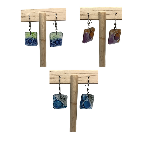 Fused Glass Earrings: Square - Ecuador