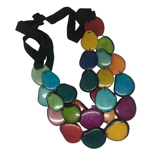 Tagua Nut Triple Strand Necklace - Ecuador