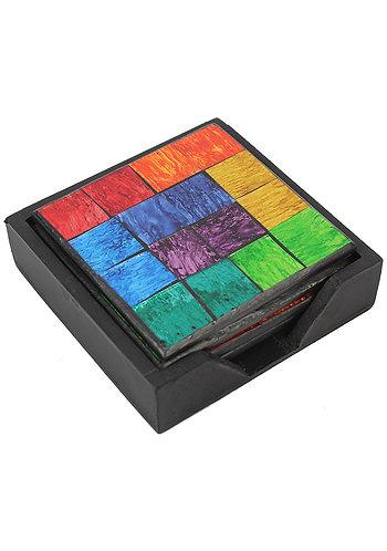 Square Rainbow Mosaic Set Of 4 Coasters