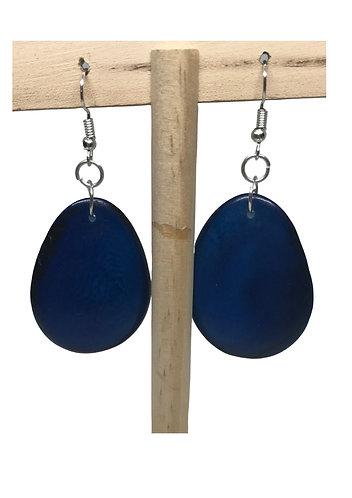 Tagua Nut Earrings: Blue - Ecuador