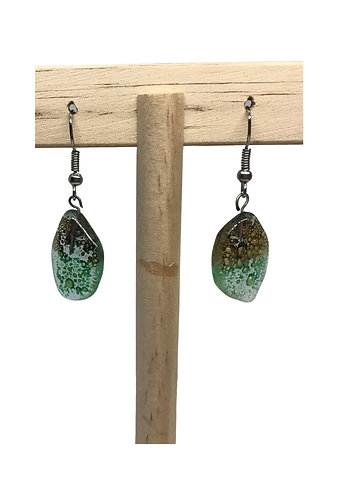 Fused Glass Earrings: Teardrop - Ecuador