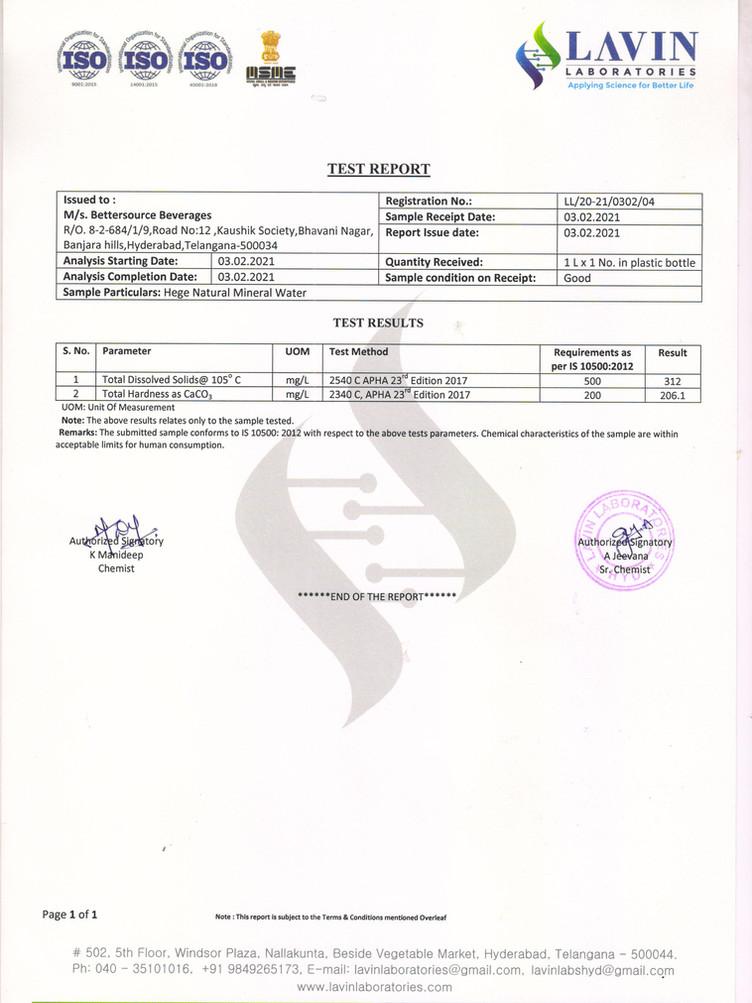 Lavin Laboratories Test Reports