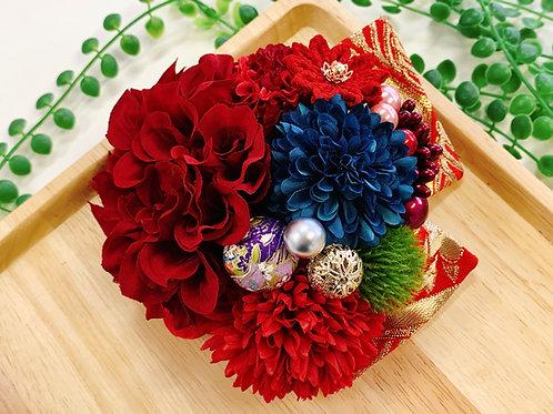 成人式 ダリアと金襴リボンの髪飾り 赤