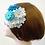 Thumbnail: 成人式髪飾り つまみ細工かんざし 白・水色