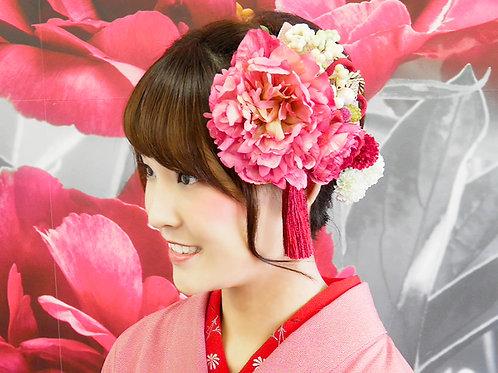 成人式髪飾りピンク4点セット