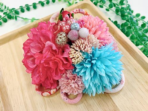 成人式 ピンクと水色の和紐髪飾り