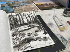 'Restricted Horizons' now underway with some sketch book drawings.
