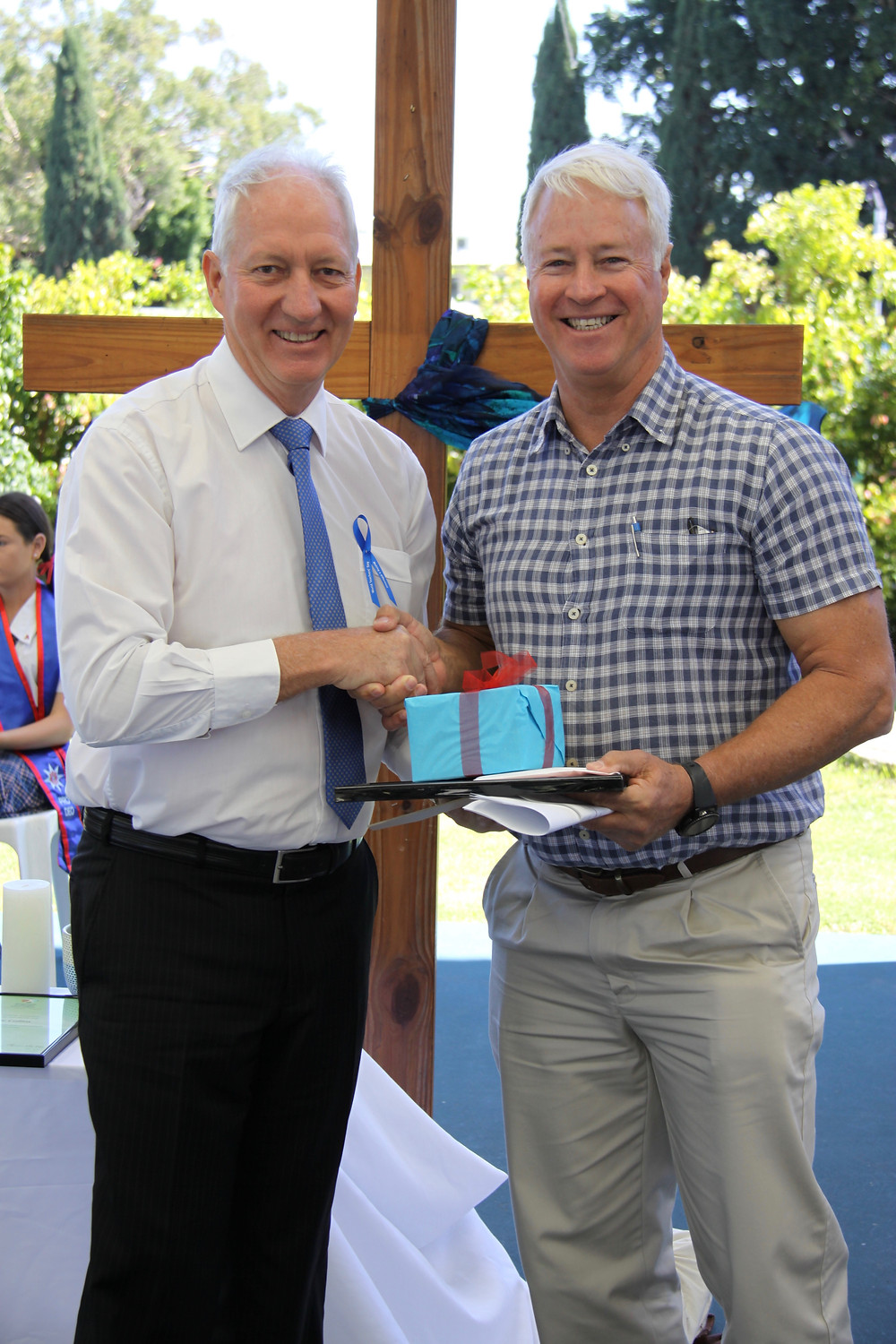Copyright 2018 Bryan W Foster, Peter Hurley Principal presenting 40th Teaching Anniversary to Bryan Foster. Just prior to retirement.