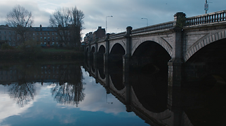 Bridge over the river Clyde at sunrise for The Helpful Scot shoot for Kiwi
