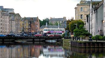 Bus going over bridge in Leith Scotland