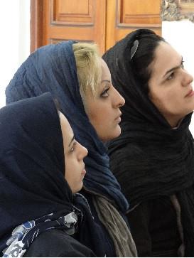 Trio of Women at Zoroastrian Fire Temple, Yazd, Iran