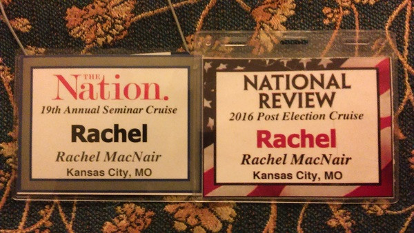 Rachel MacNair's badges at Nation & National Review cruises