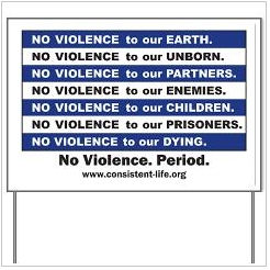No Violence yard sign