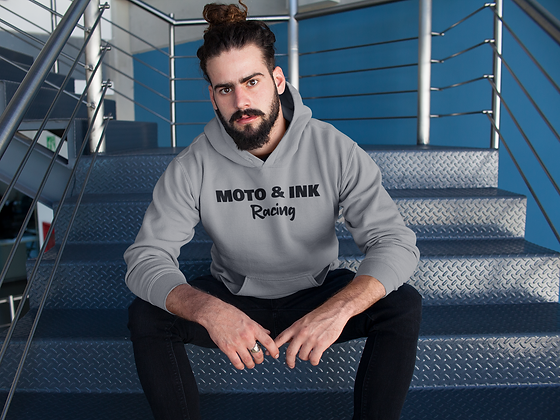 Mens Center Style Moto & Ink Racing Logo Pullover Hoodie