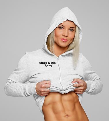 Womens Zip-Up Pocket Style Moto & Ink Racing Logo Hoodie