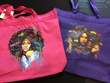 Purple Musik Afro Graffiti Tote Bag