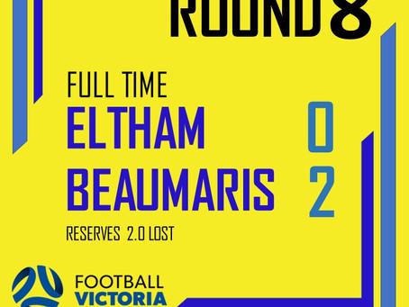 Seniors Round 8: Eltham Redbacks 0 - 2 Beaumaris
