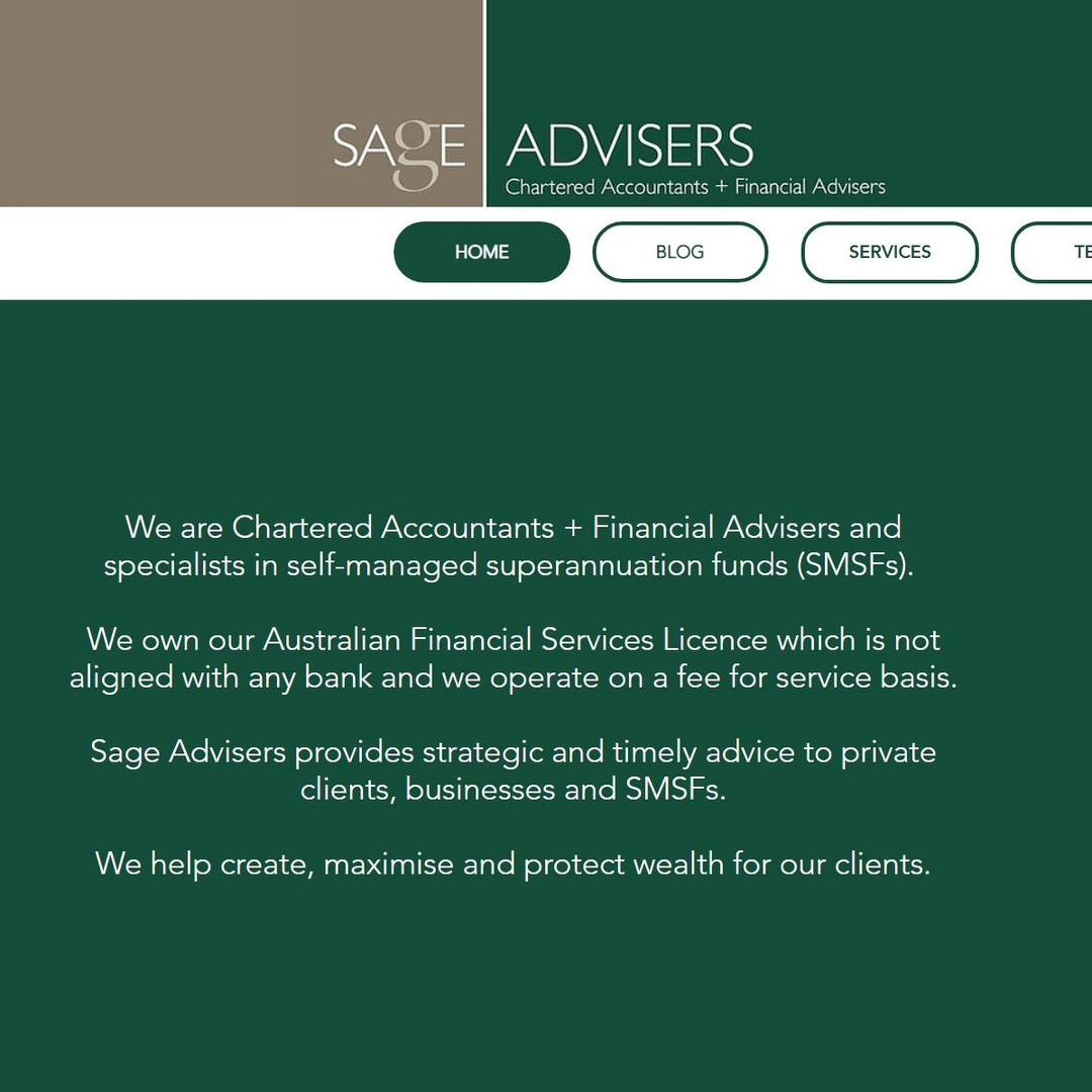 Sage Advisers Home Screen