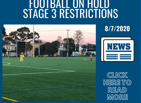 Football On Hold -  Stage 3 Restrictions Update