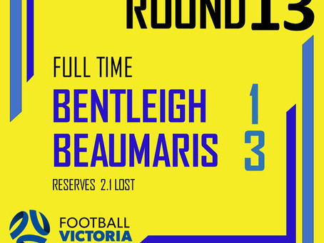 Seniors Round 13: Bentleigh Cobras 1-3 Beaumaris