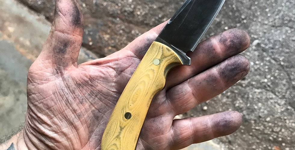 "Tin Lizzie 7.5"" Vintage Honey Canvas Micarta."