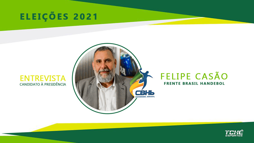 Eleições CBHB 2021 - Felipe Casão - chapa Frente Brasil Handebol / arte Tchê Esportes