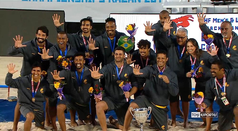 Brasil é Pentacampeão Mundial de Beach Handball (foto reprodução IHF)