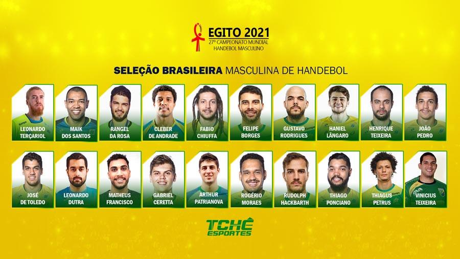 Seleção Brasileira Masculina de Handebol - Egito 2021 (arte Tchê Esportes)
