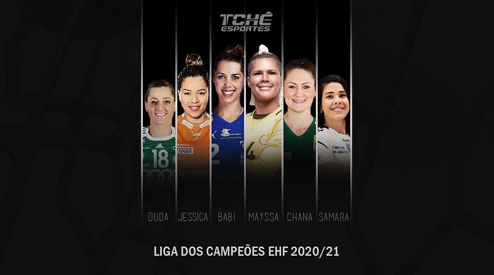 Brasileiras na Liga EHF (arte Tchê Esportes)