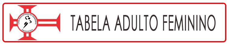 Tabela de Jogos e Classificação - Adulto Feminino 2018