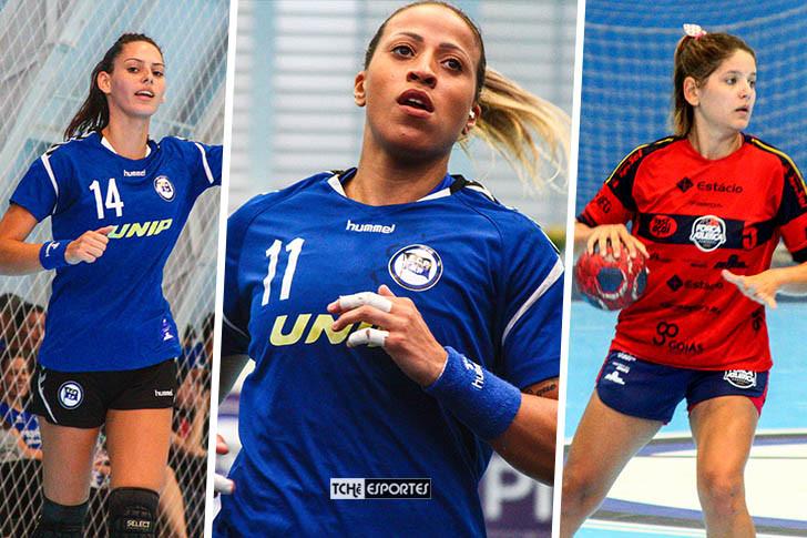 Ana Claudia Silva, Tamires Costa e Gabriela Lemos. Artilheiras do jogo. (foto André Pereira / Tchê Esportes)