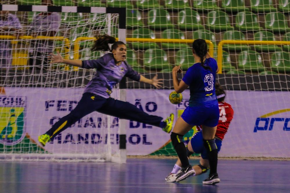 Renata Arruda, goleira da Seleção Brasileira Júnior. (foto Randes Nunes/CBHb)