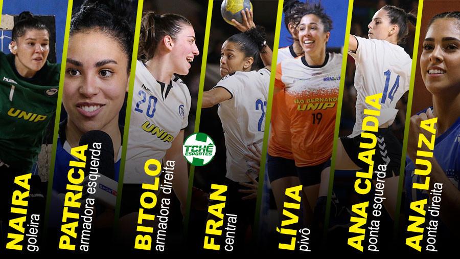 Seleção da LHB 2019 (fotos arquivo Atlética UNIP / arte Tchê Esportes)