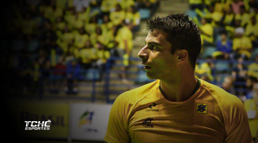 Felipe borges, ponta esquerda da Seleção Brasileira de Handebol. (arquivo Tchê Esportes / André Pereira )