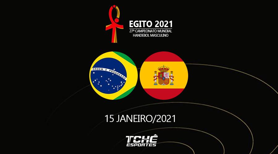 Brasil x Espanha, 15/jan/2021 - Mundial Egito (arte Tchê Esportes)