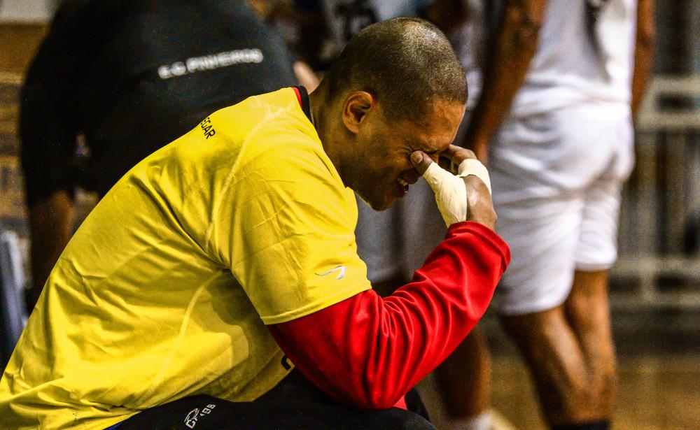 Marcão após aquecimento para o jogo contra São Caetano, em 2014. (foto arquivo Tchê Esportes)