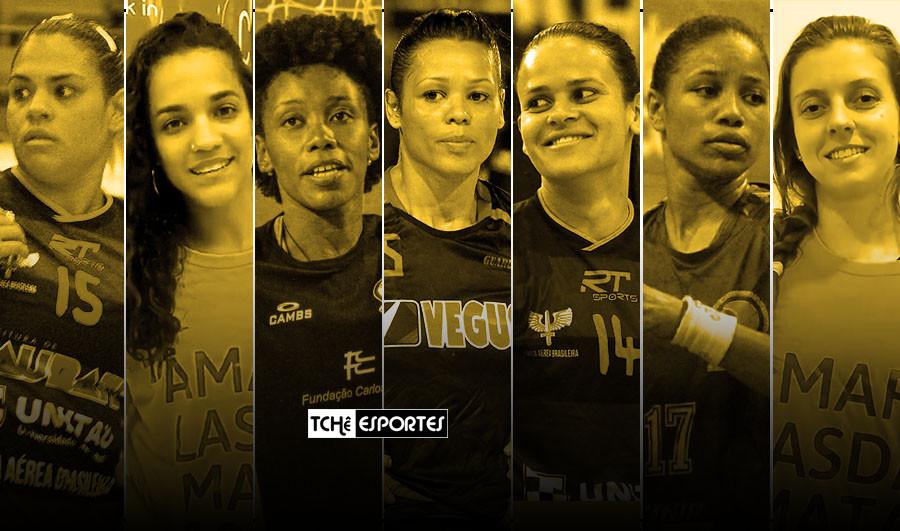 Shayane, Tâmara, Agatha, Grayce, Érika, Bruna e Bianca (arquivo/arte Tchê Esportes)