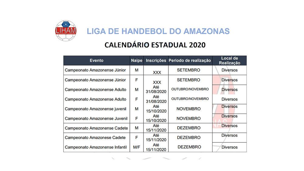 Calendário Estadual 2020 - Liga de Handebol do Amazonas