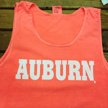Melon Colored Comfort Colors Tank Top Shirt with Auburn in White Block Letters