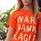 Orange T Shirt with War Damn Eagle in masking tape design on woman model