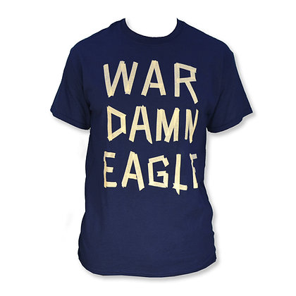 Navy T Shirt with War Damn Eagle in masking tape design