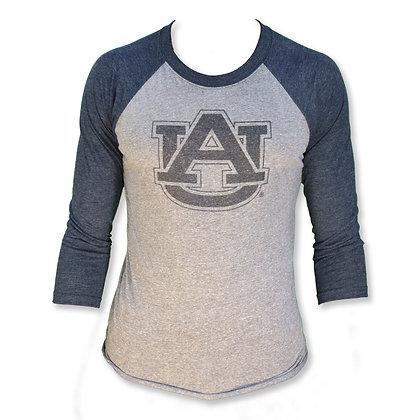 Three Quarter Sleeve Raglan T Shirt with light heather gray body and heather denim blue sleeves interlocking AU design